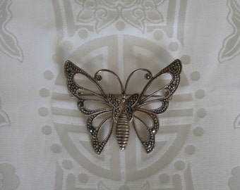 Sterling Silver Marcasite Butterfly Brooch