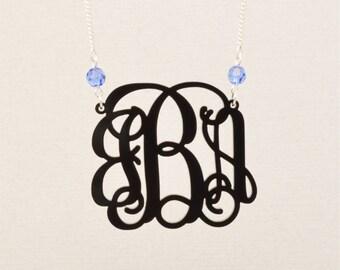 Large 2 Inch Custom Swarovski Crystal Birthstone Vine Monogram Acrylic Necklace, Personalized Bridesmaid Gift, Personalized Jewelry