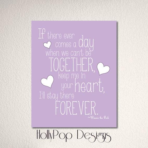 Winnie The Pooh Quote Art: Children's Art Print Purple Lavender Typography By