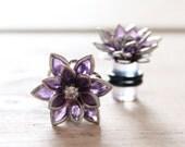 Plugs Size 4g 2g 0g 00g and UP Vintage Inspired Purple Flowers w Rhinestones Custom Gauges for Size 4 2 0 00 Wedding Bridal Bridesmaids