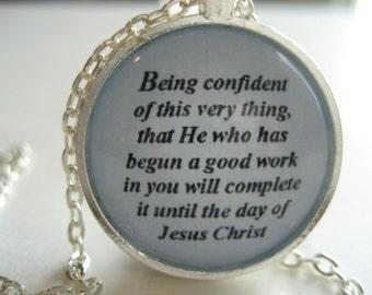 Being Confident Scripture Necklace Bible Verse Philippians 1:6