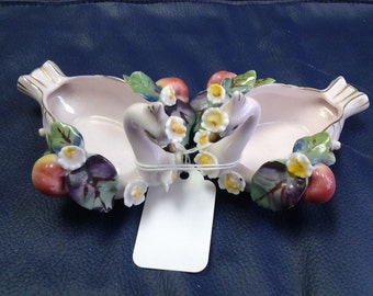 On Sale Set of Two Decorative Porcelain Swans with Fruit Planter or Ash Tray