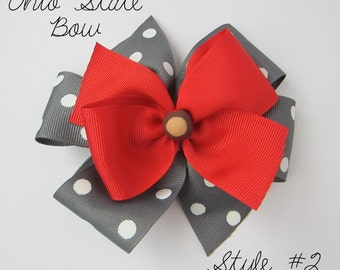 Ohio State Buckeye Hair Bow