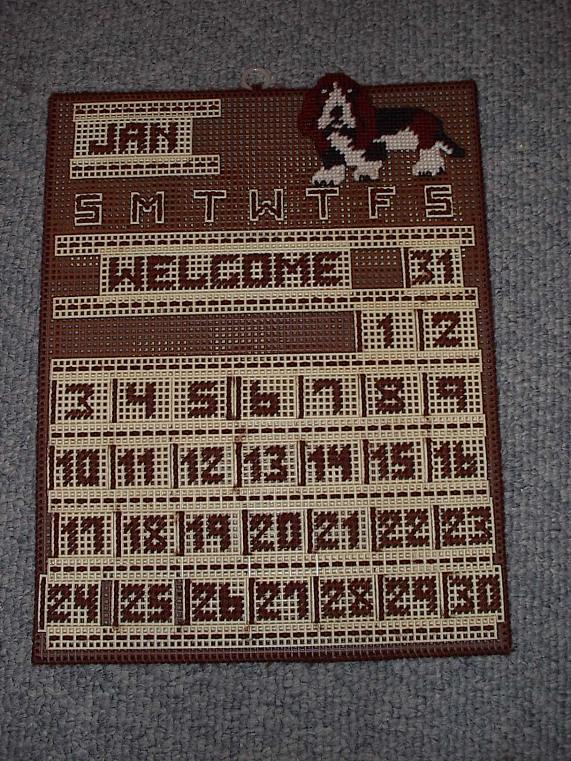 Vintage Plastic Canvas Perpetual Calendar Half Price Sale Was