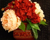 Peach Peonies, Barn Red Hydrangeas in Burnt Sienna Ceramic Vase-Silk Floral Arrangement