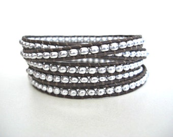 Silver Glass Seed Beaded 5x Wrap Dark Brown Leather Bracelet, Boho chic, Gift for her