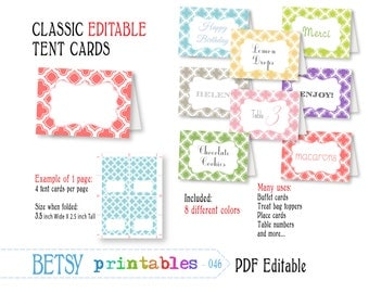 tent cards place card buffet card printable morrocan digital tent