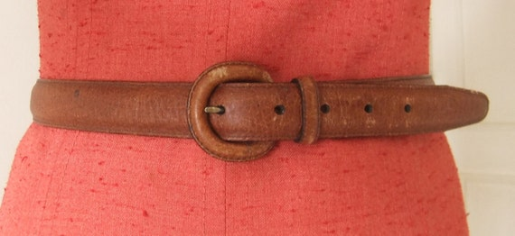 VTG Brighton Brown Leather Skinny Belt // Size M-L