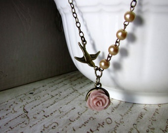 Swallow Necklace Romantic  Flower  Bird necklace Vintage Inspired  Flower pendant  pink  and gold Gift for her