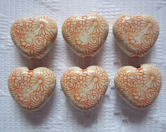 6  Orange & Cream Etched Floral Heart Acrylic Beads  16mm