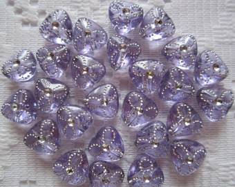 25  Lilac Purple & Silver Flower Etched Triangle Acrylic Beads  9mm