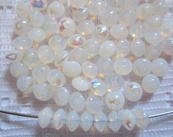 25  White Opal AB Saucer Rondelle Czech Glass Beads  6mm