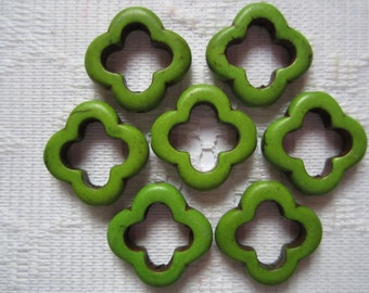 7  Lime Green Flower Howlite Turquoise Beads  20mm