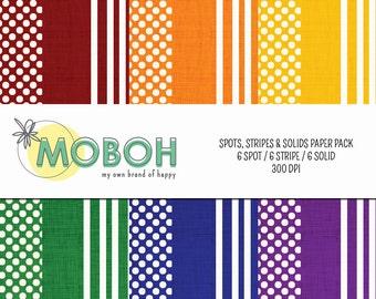 Spots, Stripes & Solids Digital Paper Pack