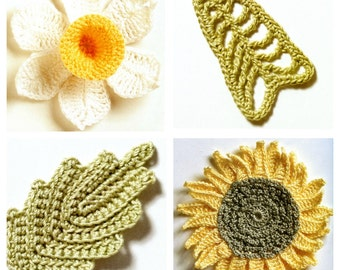 Fresh Flowers with Leaves, Sunflower, Daffodil - Easy Instant Download - Crochet Pattern Motif
