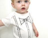 bow tie and suspenders, trompe l'oeil, t-shirt or onesie, a printed hand painted design