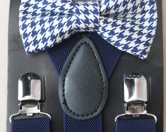 Navy Houndstooth Boys Bow Tie Navy Suspenders, Ring Bearer Outfit, Navy Wedding, Boys Cake Smash Outfit, First Birthday Boy, Boys Clothes
