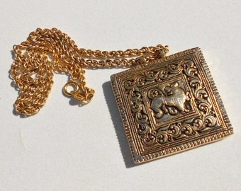 Vintage Pendant and Chain GOTH Huge Lion Necklace 1960s by Accessocraft  NYC  Free USA Shipping
