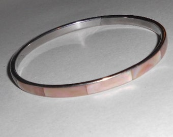 Vintage bangle bracelet in pink and desert sand colors, MOP inlay 1970s jewelry