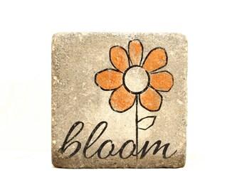 Garden Stone/  Doorstop/ Bookend/ bloom.  6x6 Concrete Paver. garden decor, nursery decor, bookend, outdoor decor, door stop