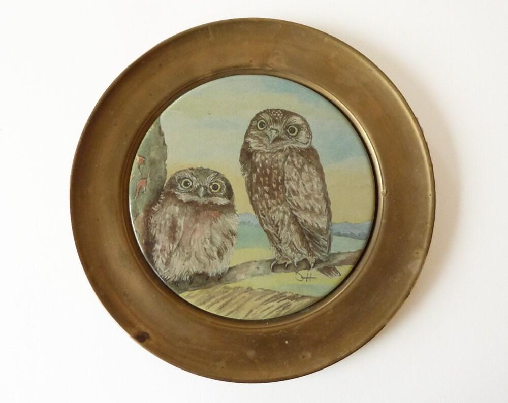 berendsohn keramik 2 owls signed plate. Black Bedroom Furniture Sets. Home Design Ideas
