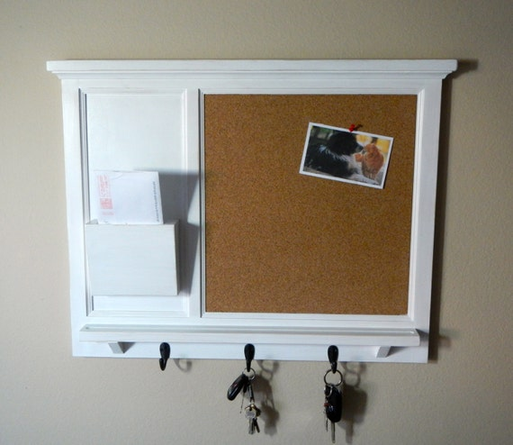 items similar to distressed white cork board mail