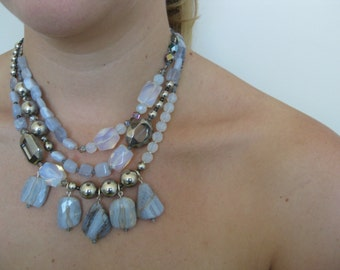 OOAK Triple-strand necklace with moonstone, cut agate and silver toned beads