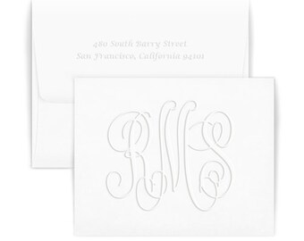 Set of 50 Henley Large Monogram Embossed Folded Note Cards