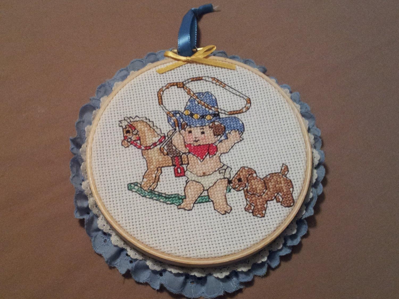 Little cowboy nursery wall hanging inch embroidery hoop