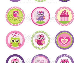Pink  or Purple Girl Owl Baby Shower Cupcake Toppers or Favor Tags Printables DIY, it's a girl owl tags - ONLY digital file - you print