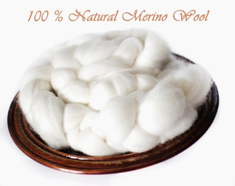Fine Merino Top Roving Wool Spinning Felting Undyed Fiber 4 oz