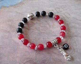 Azabache charm (figa hand) & evil eye bracelet