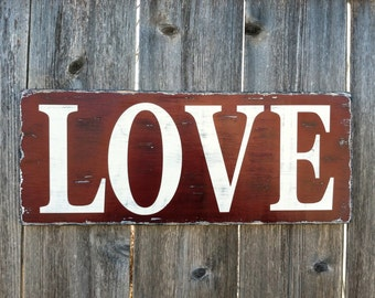 Made to Order Love Handmade Wall Decor - Rustic Distressed Wooden Sign