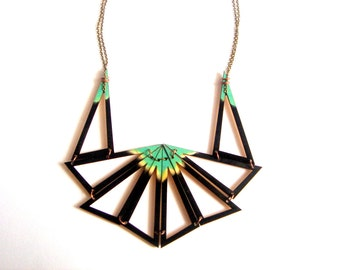 Black  Geometric Necklace, Wood Triangles Bib,Wood Tribal Necklace,Geometric Jewelry