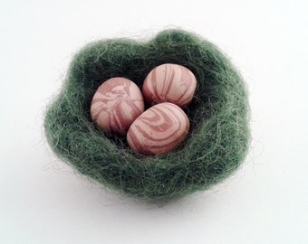 Bird Nest Brooch, Polymer Clay Eggs in Green Felt Nest