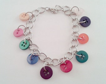 Colorful Button Bracelet, Ten Different Buttons on a Silver Chain