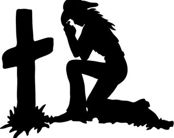 Praying Cowgirl or Cowboy Kneeling at Cross