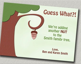 Funny Pregnancy Announcement - 4 Cards with Envelopes - Adding a Nut to Family Tree
