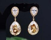 Wedding Bridal Jewelry Bridal Earrings Bridesmaid Earrings Dangle Earrings Cubic zirconia earrings with Golden Shadow Tear Drop Earrings