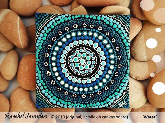 Acrylic painting aboriginal dot art aquatic art small for Small canvas boards