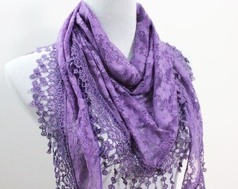 Purple Lace Scarf with Trim Fringe - Scarf with Crochet Lace Edge