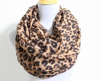 Brown Leopard Infinity Scarf, Fashion Leopard Scarf, Cheetah Print Scarf, Leopard Print Scarf, Infinity Scarf, Christmas Scarf, Gift For Her