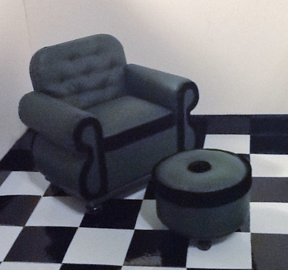Overstuffed Library Chair and Ottoman for by insidemydollhouse