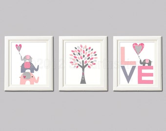 Pink and grey  Nursery Art Print Set, Personalized, 8x10, Kids Room Decor- Elephant family, love tree, love