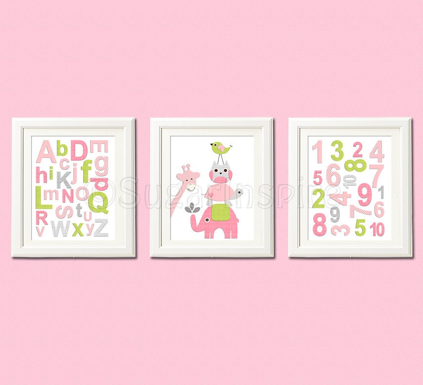 Pink And Green Wall Decor For Nursery : Pink and green nursery wall art print by
