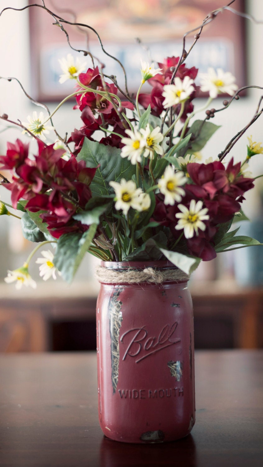 mason jar painted vase with silk flowers. Black Bedroom Furniture Sets. Home Design Ideas