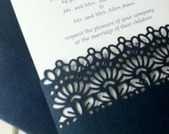 Laser Cut Wedding Invitations, Die Cut Wedding Invitations, Lace,  Pocket Sleeve Invitations, Custom Personalized Invitations