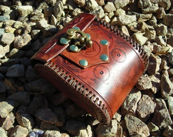Gear Stamped Steampunk Brown and Brass Leather LARP Costume Pouch