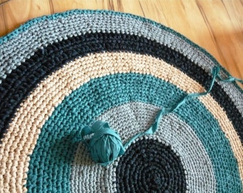 6 ft Large Round Rug , Crochet rag Rug,  Your custom colors
