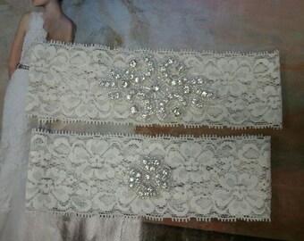 SALE - Bridal Garter, Wedding Garter and Toss Garter -Crystal Rhinestone IVORY Garter Set - Style G2098